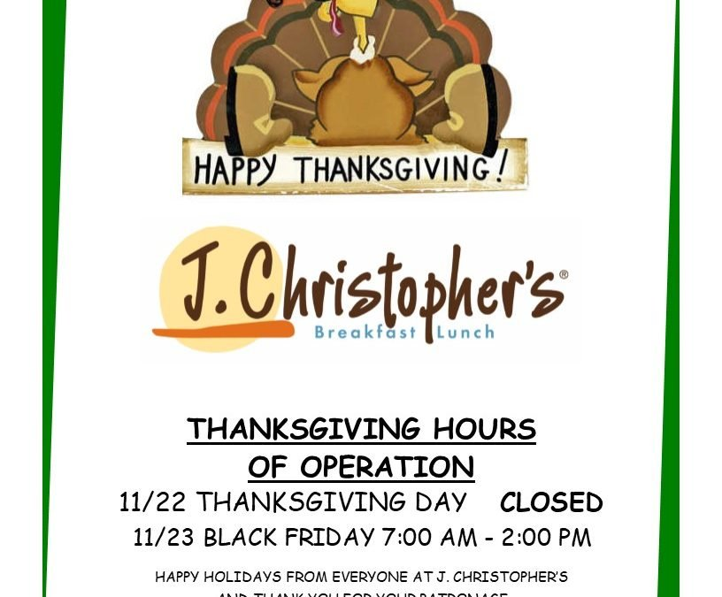 Holiday Hours of Operation (2019)